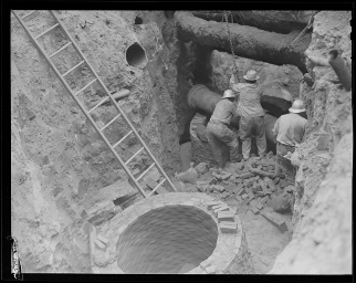 Sewer and water pipes circa 1956 (Photo credit: Boston Public Library, Leslie Jones Collection)