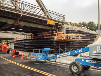 MSE wall supporting north span of bridge (photo credit: Rick Powell)