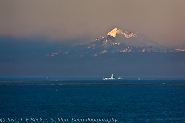 Mount Baker and the Dungeness Lighthouse